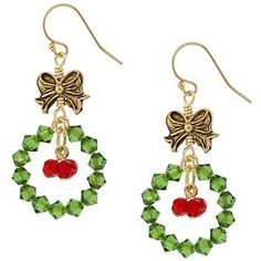 Christmas handmade earrings with a green bead wreath, red beads and a cute bow on top!