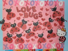 february bulletin board -- without xo's and hello kitty maybe? Valentines Day Bulletin Board, Christmas Bulletin Boards, Preschool Bulletin Boards, Preschool Valentine Crafts, Preschool Projects, Preschool Activities, February Bulletin Boards, Sunday School Decorations, Bug Crafts