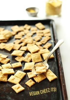 Vegan Cheez-Its! 30 Minutes, 8 Ingredients, baked not fried. So dang cheesy!