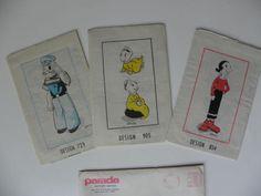 Vtg-Original-Popeye-Olive-Oyl-SweePea-Family-Dolls-Alice-Brooks-Sewing-Pattern
