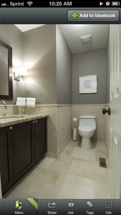Bathroom - grey with sand colored tile