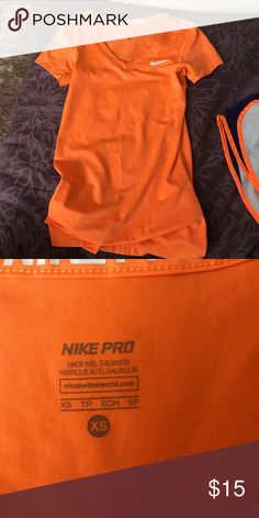 Bright Orange Nike Shirt Barely worn in great condition. Nike Tops Tees - Short Sleeve