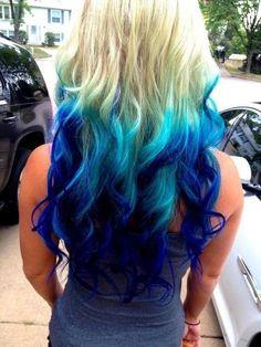 Dark blue on the outer edges, light blue inner edges, on wavy blonde hair