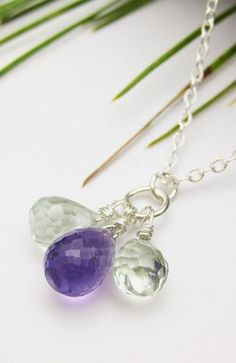 Amethyst Sterling Silver Necklace / AAA Green & Purple
