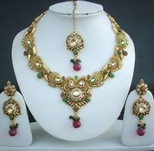 Necklace Earrings Tikka Indian Fashion Bollywood Bridal Jewelry Pearl Kundan Set