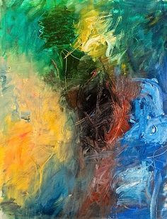 Colorful smeared abstract painting