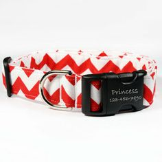 Chevron Dog Collars - For dogs big and small! 13 cute designs to choose from with a personalized laser-engraved buckle! www.dogids.com