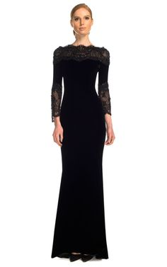Stretch Velvet Gown With Re-Embroidered Lace Accents by Marchesa