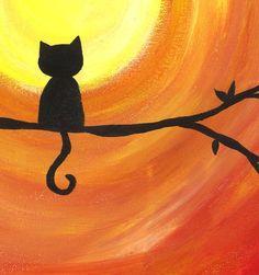 Minimal Cat Print, Cute Cat Print, Black Cat Silhouette, Sunset Art