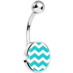 Turquoise White Chevron Belly Ring #bodycandy #chevron #bellyring $7.99