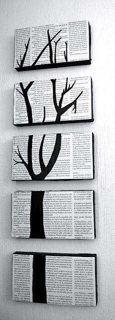 Absolutely adore this.  Made from old book pages, paint and shoe box lids!