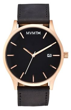 Free shipping and returns on MVMT Leather Strap Watch, 45mm at Nordstrom.com. A matte black leather strap accents the polished rose-gold dial of this spiffy, minimalist wristwatch.