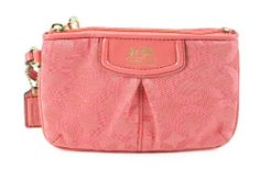 Coach Madison Signature Op Art Small Wristlet Papaya