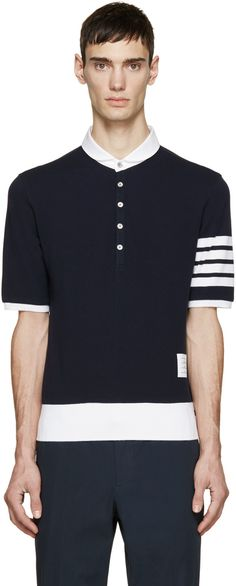 Thom Browne - Navy Cotton Piqué Armband Polo