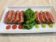 [homemade] Sesame crusted Seared Ahi Tuna With Seaweed Salad #TTDD#TheThingsDadsDo