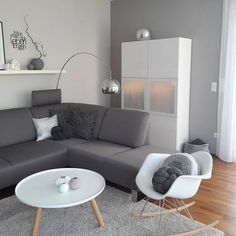 I love the white and grey and then the pops of warm bamboo color. AND all the textures in the pillow details and decor. Room Interior, Home Interior Design, Casa Milano, Ikea Living Room, Home And Deco, Home And Living, Living Room Designs, Home Furniture, Sweet Home