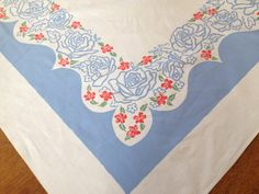 Vintage 1950's Tablecloth Printed  Blue White by AStringorTwo