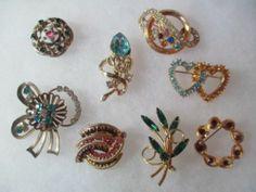 Rhinestones Variety Vintage 8 Pin Lot 1950s 1970s Assorted Guilloche Heart Mod | eBay