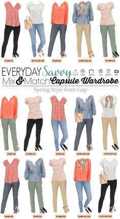 Cute spring outfits capsule wardrobe – ideal for everyday wear & travel – comfy travel outfit summer Capsule Wardrobe Mom, Capsule Outfits, Travel Wardrobe, Comfy Travel Outfit, Travel Outfit Summer, Spring Outfits Women, Summer Work Outfits, Gap Outfits Women, Winter Outfits