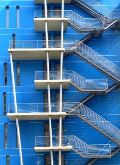 Blue Fire Stairs Escapes Stairs Architecture Exterior