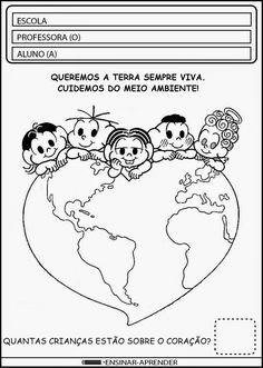 ATIVIDADES ESCOLARES SOBRE O MEIO AMBIENTE Earth Day, Love You More, Childcare, Bullying, Professor, Diy And Crafts, Homeschool, Recycling, Comics