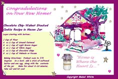 Happy New Home Postcard with Stacked Chocolate Chip Cookie Recipe Happy New Home, Chocolate Chip Cookies, Brown Sugar, Cookie Recipes, Mason Jars, New Homes, Greeting Cards, Recipes For Biscuits, Biscuits