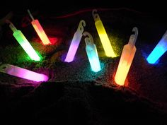 Glow sticks in the sand! Not really a craft, but looks cool, super affordable, totally safe + kids looooove glow-in-the-dark stuff on warm summer nights. Adults too; glow is mesmerizing.