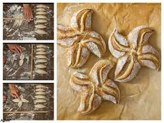 ♡♥ Bread Art, Pan Bread, Festive Bread, Puff Pastry Desserts, Bread Shaping, Braided Bread, Muffin Bread, Bread And Pastries, Home Baking
