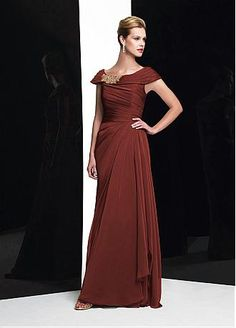 Glamorous Chiffon A-line Off The Shoulder Cap Sleeves Full Length Mother Dress