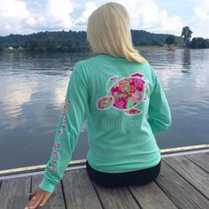 Pretty Posy Long Sleeve Pocket Tee in Mist - Arm Imprint - Shelly Cove - 1 Southern Outfits, Preppy Southern, Southern Shirt, Simply Southern, Shelly Cove, Comfort Colors, Cute Shirts, Long Sleeve Shirts, Cute Outfits