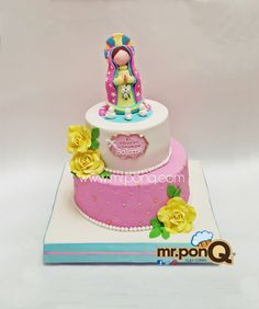 Torta Primera Comunión Virgencita Guadalupe Beautiful Cakes, Amazing Cakes, Communion Dresses, Pasta Flexible, First Communion, Birthday Fun, Rococo, Fondant, Religion