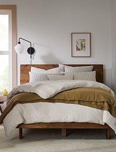 bedding Mid Century Bed, 60s Furniture, Mid Century Bathroom, Oversized Furniture, Wood Slats, Coffee Table With Storage, Custom Rugs, Mid Century Design, West Elm