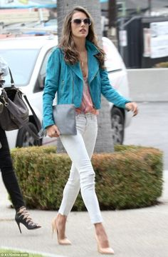 Alessandra Ambrosio wearing CC Skye Glamour Horn Necklace, Yves Saint Laurent Clara 105 Pointed Pumps, Pierre Balmain Suede Biker Leather Jacket, J Brand 811 Mid Rise Skinny Leg Jeans in Hysteria and Gypsy05 Prim Geo Print Sleeveless Top in Apricot.