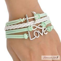 Armband Anker AHOI & LOVE mint & weiß im Organza Beu