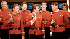 Leonard Nimoy with the rest of the Star Trek team in 1988