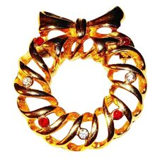 Vintage Gold--tone Open-work Wreath with 4 Red & 3 White Rhinestone Accents by BeccasBestJewelry on Etsy