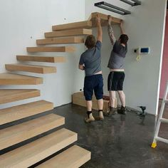 ideas for floating wooden stairs stairways Steel Stairs, Loft Stairs, House Stairs, Home Stairs Design, Interior Stairs, House Design, Wood Staircase, Floating Staircase, Spiral Staircases