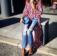 long dress with jeans + fashion + street style