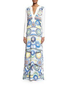 Long-Sleeve Printed Maxi Dress, White - Peter Pilotto