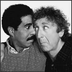 Funny picture of Richard Pryor & Gene Wilder. ♥ Check out my #celebrity website for more fun stuff! ♥ #celebritysizes