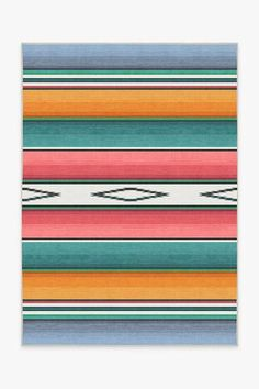 Falsa Stripes Polychrome Rug Teal Rug, Turquoise Rug, Stone Rug, Machine Washable Rugs, Striped Rug, Black Rug, Outdoor Outfit, Natural Rug, Colorful Rugs