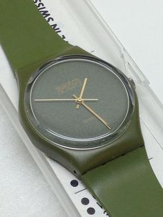 Vintage Swatch Watch GG100 1983 Mint VERY RARE Green Gold #Swatch #Casual
