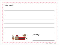 Free Letter to Santa Printable - A Quiet Simple Life with Sallie Borrink Santa Letter Printable, Literacy Activities, Dear Santa, Math Centers, Fun Learning, Christmas Fun, Lettering, Writing, Education