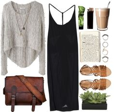 Cute dress, like the length and the simplicity and the hi low sweater to go over it, super cute