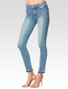 Paige Womens White Hoxton Straight Ankle Cotton Stretch Blend Jeans Pockets