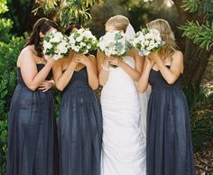 long charcoal empire waist bridesmaid dresses