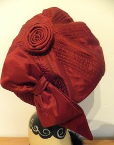 VINTAGE HAT 1960's HIPPY BERET STYLE CLOCHE IN RUST/RED STITCHED SATIN w/BOW | eBay