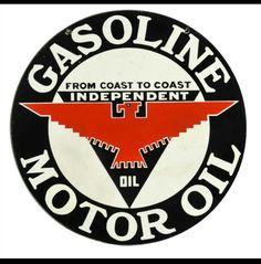 Rare Independent Gasoline & Motor Oil Porcelain Sign