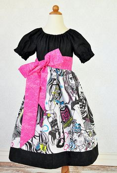 Custom Monster High Dress with Peasant Top and Sash Sizes 5-8. .