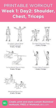 Fitness Motivation : Description Week Shoulder, Chest, Triceps: my custom printable workout by Planet Fitness Workout, Gym Workout Plan For Women, Gym Workout Plans, Gym Plan For Women, Gym Routine Women, Week Workout, Triceps Workout, Chest And Tricep Workout, Leg Exercises Gym